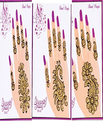 [Combo of 6 Assorted Bollywood Style Henna/ Mehndi Stickers/ Temporary Body Tattoos -] (Bollywood Party Decorations)