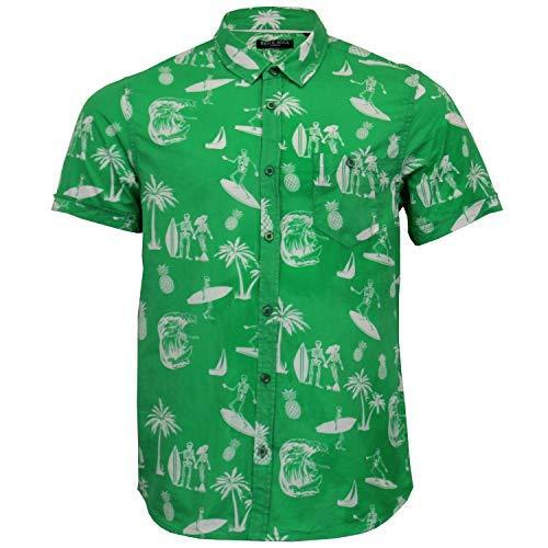 f793059a3c6ab7 Brave Soul Uomo Hawaii Camicia di Cotone Ananas Albero di Palma Stampa Manica  Corta: Amazon.it: Abbigliamento