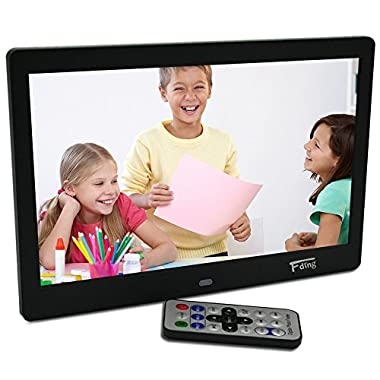 10.1 Inch Hi-Res TFT LED Digital Photo Frame & HD Video(1080P/720p)&Music Playback with Remote Control&Calendar/Clock Support 32GB SD Card -Black