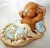 "PenDelFin Bunny Rabbit Figurine ""Yawner"" Un-Named Blue Bedding Stonecraft by Jean Walmsley Heap"