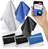 Clean Screen Wizard Microfiber Cleaning Cloth and Microfibre Sticker (1 Large and 5 Medium Cloth) with Vinyl Pouch