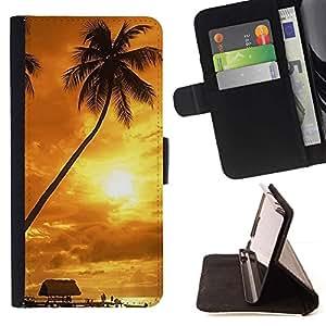 For Samsung Galaxy J1 J100 Case , Puesta de sol de coco Beautiful Nature 122- la tarjeta de Crédito Slots PU Funda de cuero Monedero caso cubierta de piel
