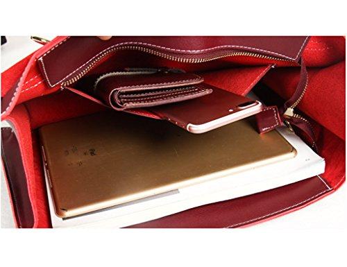 Hombro Bolsas Paquetes De Mujeres Maletn Mensajero Bolsos Bolsas Y Cuero Oscuro Honey Diagonal Mensajero Moda Color De Para De Bolsas Rojo Capacidad De De ZCJB brown Marea Alta Suave 7Y1nxqPq