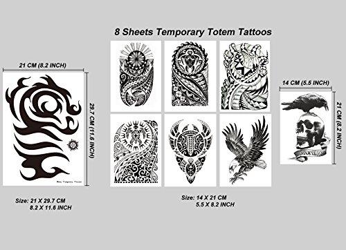 (Kotbs 8 Sheets Temporary Tattoo for Men Women Waterproof Large Totem Temporary Tattoos Sticker Body Art Makeup Fake Tattoo Paper)