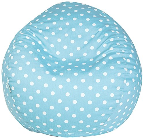 Majestic Home Goods Classic Bean Bag Chair - Mini Polka Dots Giant Classic Bean Bags for Small Adults and Kids (28 x 28 x 22 Inches) (Aquamarine Blue)