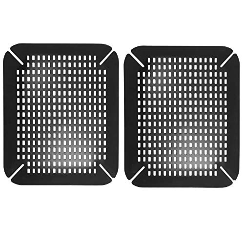 mDesign Adjustable Kitchen Sink Dish Drying Mat/Grid - Soft Plastic Sink Protector - Cushions Sinks, Stemware, Wine Glasses, Mugs, Bowls, Dishes - Quick Draining, Contours to Sink - 2 Pack - Black