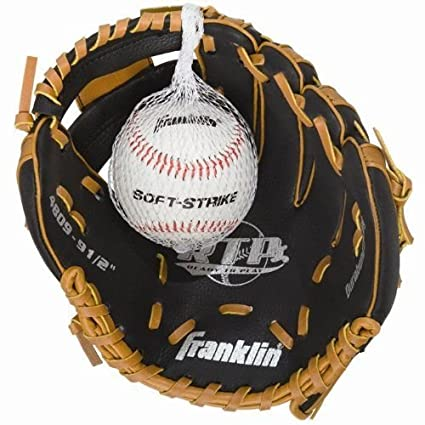 c96ad14865c Amazon.com   Franklin Sports Black   Tan Baseball Glove with Ball ...