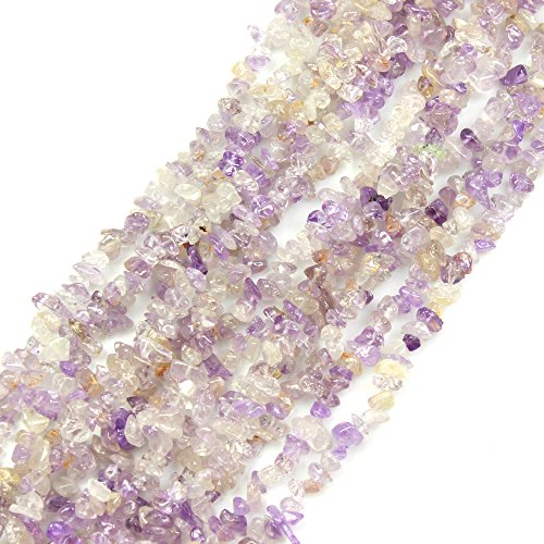 (JARTC Natural Irregular Broken Ametrine Chip 6-8mm 15 Inch Agate Crystal Chip for Jewelry Making DIY Bracelet Necklace Accessory)