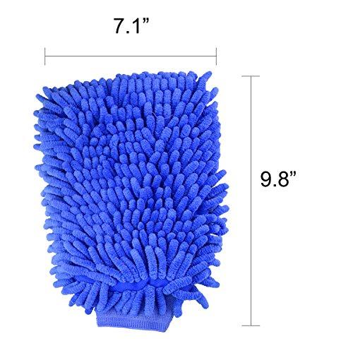 Jmkcoz 2 Pack Microfiber Car Wash Mitt Chenille Mitt Gloves Cleaning Cloth Car Wash Mop For Car Cleaning Blue