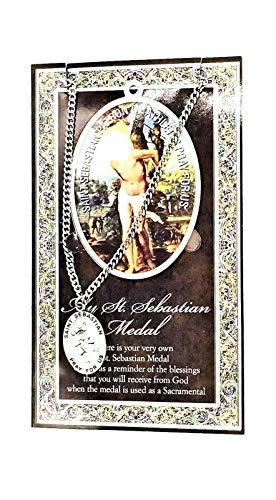 (98 7/18) Saint Sebastian Genuine Pewter Medal with Stainless Chain and Prayer Card Copyrighted Paul Herbert Blessing PATRONA Series