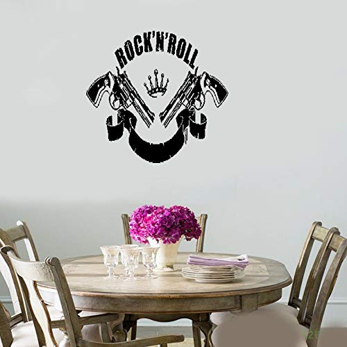 - Removable Vinyl Wall Stickers Act Mural Decal Art Home Decor Rock`n`Roll Music Guns Revolvers Rock