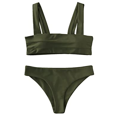 Piece Bandeau Color Bikini Candy Basic Swimsuit Neck Square Set Gamiss Two Women's Style nO0kwP