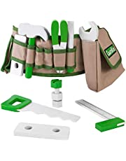 Handy Dandy Tool Belt   16 pc Set of Kids Wooden Tools   Includes Hammer, Wrench, Pliers, Saw, Screwdriver, Ruler, Pencil, 2 Bolts, 4 Nuts and 2 Building Pieces   Children's Pretend Play Repairman Toy