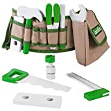 Handy Dandy Tool Belt | 16 pc Set of Kids Wooden Tools | Includes Hammer, Wrench, Pliers, Saw, Screwdriver, Ruler, Pencil, 2 Bolts, 4 Nuts and 2 Building Pieces | Children's Pretend Play Repairman Toy