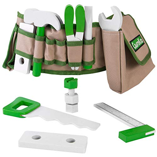 Handy Dandy Tool Belt | 16 pc Set of Kids Wooden Tools | Includes Hammer, Wrench, Pliers, Saw, Screwdriver, Ruler, Pencil, 2 Bolts, 4 Nuts and 2 Building Pieces | ()