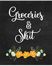 Groceries & Shit Meal Planner with Grocery List, 52 Weekly Food Planner: Chalkboard Journal Notebook, 2 Full Page Spread for each Week, Breakfast, Lunch, Dinner and Snacks, Grocery List & Notes for Healthy Recipe Ideas, Meal Prep Organizer, Meal with Shopping List & Notes, Practical, Funny Gift for Women, Funny Gift for Men