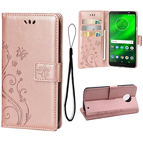 Wallet Case for Motorola Moto G6, 3 Card Holder Embossed Butterfly Flower PU Leather Magnetic Flip Cover for Motorola Moto G6(Rose Gold) (Motorola Case Soft Carry Leather)
