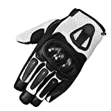 New Men Short Motorcycle Leather Mesh Gloves White Carbon Fiber XXL