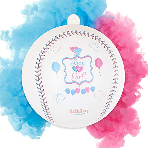 LilliJoy Premium Gender Reveal Baseball Set Includes 2 Balls Filled with Pink and Blue Color Holi Powder in Gift Box. Great for Boy or Girl Baby Shower Reveal Party -