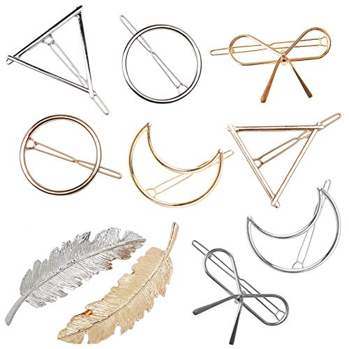 Gold Silvel Minimalism Hair Clips Dainty Feather Hollow Hair Clips Set Feather Hair Pins Geomoetric Barrette Hair Accessories for Women -