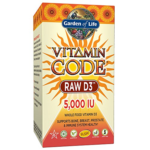 Garden of Life Raw D3 Supplement - Vitamin Code Whole Food Vitamin D3 5000 IU, Dairy and Gluten Free, Vegetarian, 60 Capsules