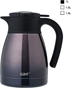 GiNT Stainless Steel Thermal Coffee Carafe with Lid/Double Walled Vacuum Thermos / 12 Hour Heat Retention,1.0L, Purple