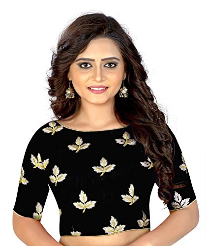 Hiral Designer Women's Free Size Ready Made Saree Blouse Party Wear Work: Embroidery Work. Type: choli Design: Mapple Multi Color Collection. (BLACK)