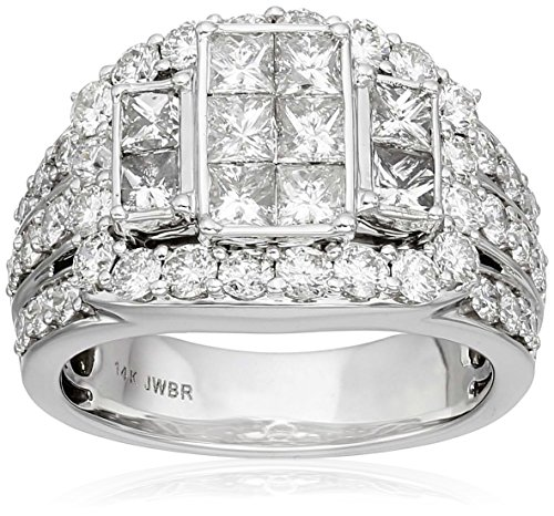 14k White Gold with Princess and Rounds Diamond Quad Ring (3cttw, H I Color, I2 I3 Clarity)
