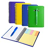Coopay 4 Pieces Spiral Notebook Cover Paper Steno Pocket Notepad with Pen in Holder and Sticky Notes, Page Marker Index Tabs Flags, 4 Colors (Multiple Colors)