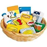 Kaufladen Miniaturen,Lebensmittel und Haushaltswaren im Korb