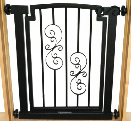 Noblesse Dog Gate – 32″ tall x 28″-34″ wide – Black