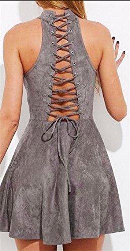 Back Lace Bandage Neck Womens up Swing Sleeveless Dress Mock Grey Mini Jaycargogo w0IqEgX0