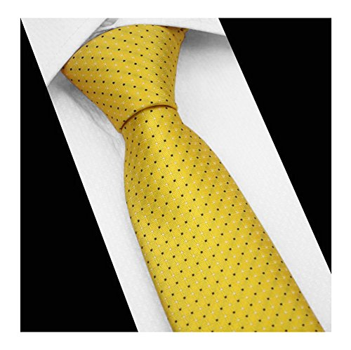 Yellow Gold Dot (Men Yellow Gold Pin Dot Woven Silk Tie Formal Fashion Thanksgiving Dress Necktie)
