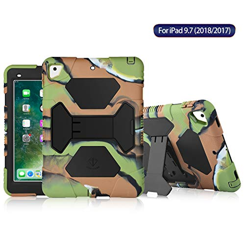 (ACEGUARDER New iPad 9.7 2017 Case [Impact Resistant] [Shockproof] [Heavy Duty] Full Body Rugged Protective Cover with Kickstand & Dual Layer Design for Apple New iPad 9.7 inch 2017 (Army Camo/Black))