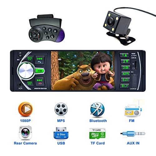 CARED 4.1 Inch Car stereo MP5 player/bluetooth Car Headunit radio audio receiver/Steering Wheel Control /Rear View Camera/MP3/USB/SD/AUX in/DVR input/12V TFT screen HD 1080P video/wireless Remote