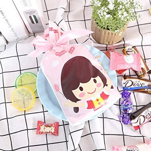 per caricamento biscotti torte cioccolato e piccoli gioielli CNNIK 50PCS Sacchetti di caramelle Sacchetto per imballaggio di prodotti da forno Cartoon bambina e ragazzo Sacchetti regalo