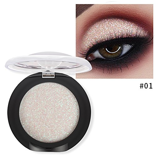 Single Baked Eyeshadow 12 Color Classy Intensity Shimmer Pearl Eye Shadow Highlighter Pigment Diamond Glitter Makeup Powder (01#)