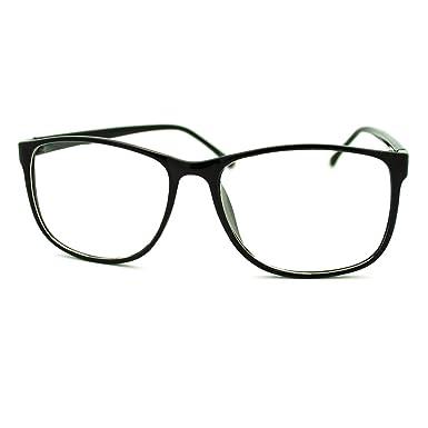Amazon.com: Black Square Clear Lens Eyeglasses Oversized Thin ...