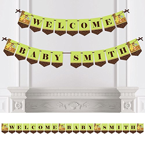 Big Dot of Happiness Custom Funfari - Fun Safari Jungle - Personalized Baby Shower Bunting Banner & Decoration - Welcome Baby Custom Name Banner
