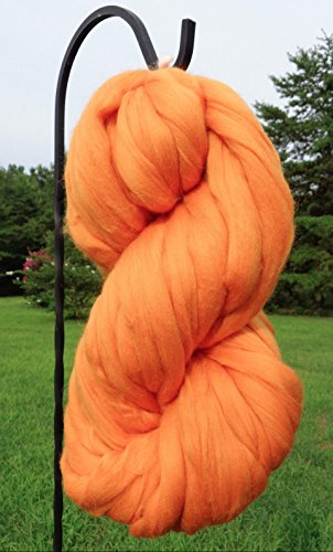 Clementine Orange Merino Wool Top Roving Fiber Spinning, Felting Crafts USA -