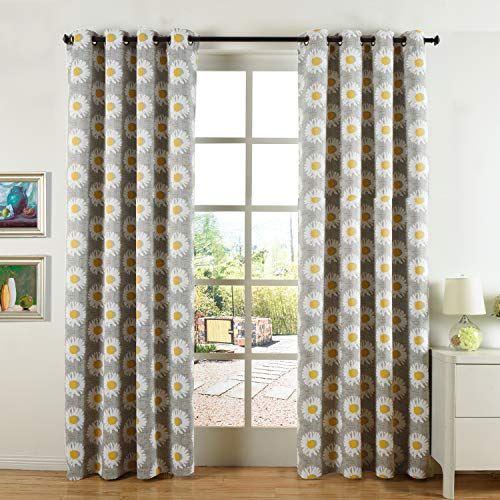 - Cosics Grommet Blackout Curtains, 2PCS 52x84 Inch Curtains Sweet Daisy Floral Printed Gray Curtains Panels, Heat Insulated Noise Reducing Room Darkening Window Treatments for Farmhouse, Home Decor
