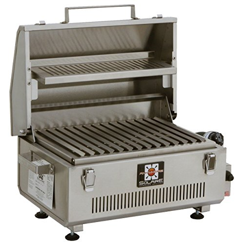 Solaire SOL-IR17MWR Marine Grade Portable Infrared Propane Gas Grill with Warming Rack, Stainless ()