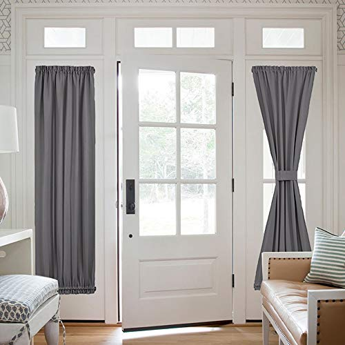 NICETOWN French Door Window Curtains - Functional Thermal Insulated Blackout Curtain Panels for Patio Door/Sidelight Door 25W by 72L inches - Grey (2 Panels) (French Window For Doors Panels)