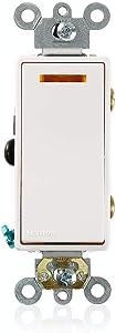 Leviton 5633-2W 20-Amp, 120-Volt, Decora Plus Rocker Lighted Handle, Illuminated Off 3-Way AC Quiet Switch, Commercial Grade, Self Grounding, White