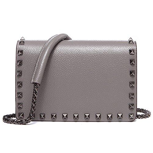 Capacità Magnetica Fibbia Piccola Donna Rivetto Borse Sezione Pu Grande Tracolla Casual Borsa Handbag Grey Trasversale x4HZwqF