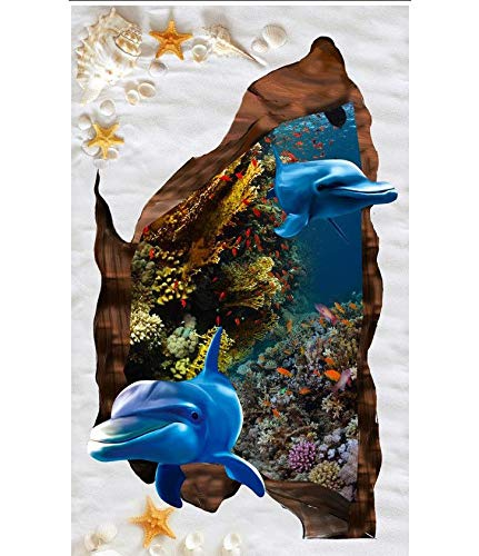 Wapel Fotomurales 3d Papel Pintado Tamaño personalizado Mar Mundo Delfín Blanco Arena Playa Shell Coral 3D Piso Impermeable...