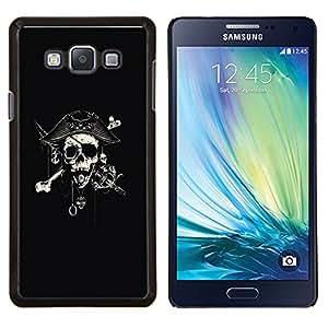 KLONGSHOP // Cubierta de piel con cierre a presión Shell trasero duro de goma Protección Caso - Capitán Espada Cráneo Negro Pirata - Samsung Galaxy A7 A7000 //