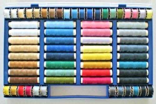 Juego de 64 Hilos de Colores (100% poliéster, apropiado para máquina de Coser) by DELIAWINTERFEL: Amazon.es: Hogar