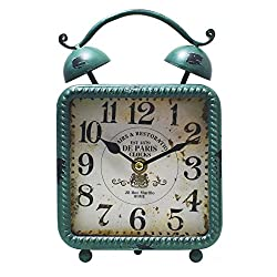 JustNile Antique-Style Table/Desk Clock - Square Green