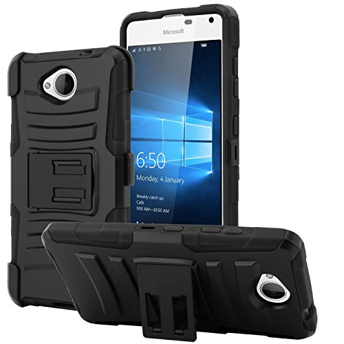 Black/Black ULTRA [ARMOR] Air Cushion Hybrid Holster [Kickstand] Durable Rugged Impact Armor Heavy Duty for Microsoft Lumia 650